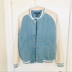F21 Baseball blue and cream suede jacket